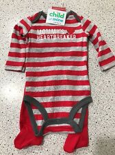 #2067 BOY INFANT 0-3MO 2PC STRIPED BODYSUIT RED PANTS MOMMY'S HEARTBREAKER NEW