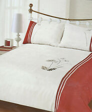 RED CREAM BLACK TAUPE KING SIZE DUVET SET  EMBROIDERED MOSLEY