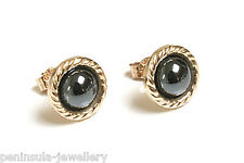 9ct Gold Hematite Stud earrings Gift Boxed Made in UK