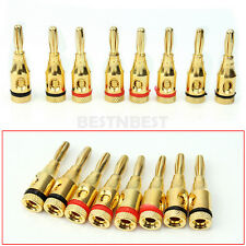 8Pcs Gold Plated Musical Audio Speaker Cable Wire 4mm Banana Plug Connector