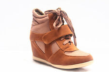 Women's Fashion Lace Up High Top Ankle Wedge Heels Sneaker Boots Shoes
