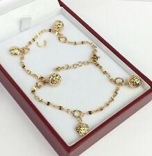 18k Solid Yellow Gold Cute Ball Charms Italy Anklets ,9 Inches, 5.50 grams