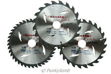 3PC 185mm TCT 30mm Bore Circular Saw Blades 20, 24 & 40 Teeth Hardwood, Softwood