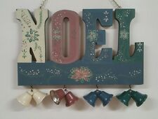 Christmas  Noel  wooden wall plaque with bells decor