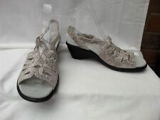 "HOTTER Crystal UK 6.5 / 40 Grey print open toe slingback sandals 2"" heel exc"
