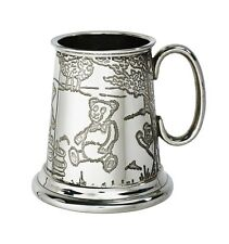 1/4 Pt English Pewter Child's Christening Cup with Teddy Bear's Picnic Imagery