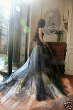 New Custom White/Ivory and Black Wedding Dress Bridal Gown Tulle  Plus Size2-30+