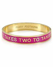 KATE SPADE NWT 12K Gold Plated It Takes Two To Tango Idiom Bangle Bracelet $78