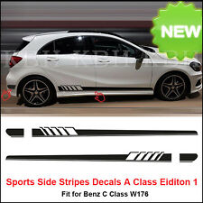 NEW Edition 1 Style Side Stripe Sticker for Mercedes Benz W176 A Class AMG Black
