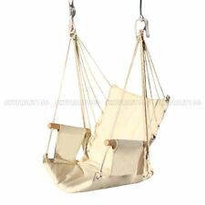 Hammock Hanging Cotton Rope Chair Outdoor Porch Garden Swing Yard Tree Wood