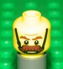 LEGO - Minifig, Head Bushy Moustache, Brown Eyebrows, Chin Strap Angry Pattern