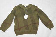 AUTH $195 Burberry Children Boy Saxon Green Cashmere Cotton Sweater 2Y