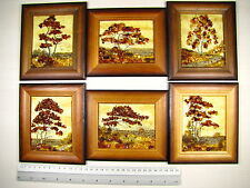 Hand Made Mosaic Baltic Amber Natural Wooden Pictures #135 LOT of 6pcs