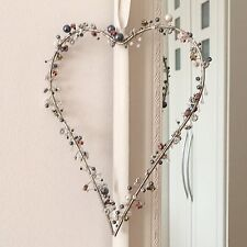 LARGE VINTAGE SILVER HANGING METAL HEART PEARLS & BEADS WALL PLAQUE WEDDING DEC