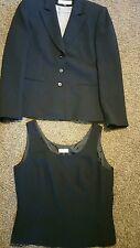 Tahari 2 piece blazer camisole black pinstripe lined sz. 10