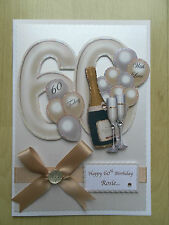 Luxury Hand-Made 60th Birthday Card-Can Be Personalised-Any Relative/Friend