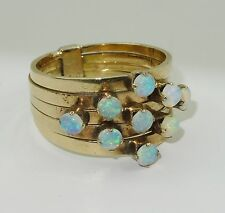 STUNNING ANTIQUE 1920's 18K GOLD MULTI BAND RING w/  FIERY OPAL * SIZE 7