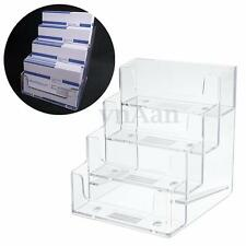4 Tier Clear Desktop Business ID Card Holder Counter Display Stand Acrylic Shelf