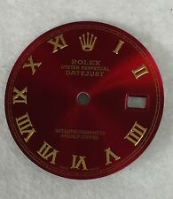 Rolex Men's Datejust Quickset Candy Red Custom Romans Numbers Dial 2-T