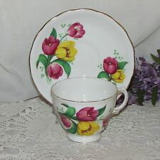 VINTAGE ROYAL VALE CUP & SAUCER TULIPS YELLOW PINK FLOWERS BONE CHINA ENGLAND