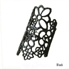 Hot Sale  Adjustable Hollow Flower Ring Cool Neutral Black/Gold Gift New LCF