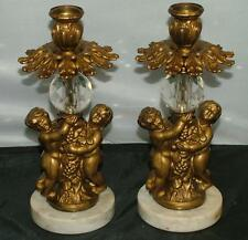 Pair Shabby Chic Gold Cast Cherub Putti Italian Marble Crystal Candle Holders