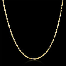 """Fashion Luxury Water Wave 1.5mm Yellow Gold  20"""" inch Men Women Necklace Chain"""