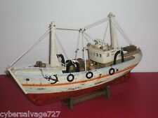 """18"""" Fishing Boat Wooden Vessel Ship Weathered Model Fully Assembled On Cradle"""