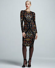 Alexander McQueen Obsession-Print Long-Sleeve Sheath Dress, $1489 Size 46IT/10US