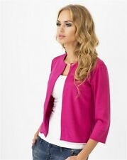 Ladies 3/4 Sleeve Open Front Womens Smart Office Blazer Lined Jacket Outwear Top