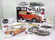 AMT '55 Corvette, '33 Willys & '78 Pacer X Retro Deluxe model kit lot of 3