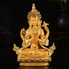 Tibet Tibetan Buddha Buddhist Gild Four Armed Guan Yin Kwan Yin Buddha Statue