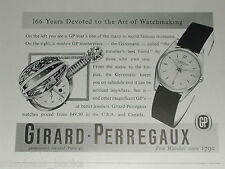 1956 Girard Perregaux Watch advert page, Gyromatic Mandolin case plus wristwatch