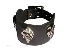 Bracelet cuir biker faucheuse bracelet tete mort grim reaper leather bracelet