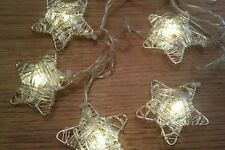 Stunning 10 Silver Star String/Fairy lights-Ideal For Christmas Table/Vase