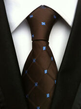 New Classic Geometric Brown Blue JACQUARD WOVEN 100% Silk Men's Tie Necktie
