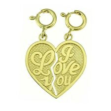 NEW 14k YELLOW GOLD I LOVE YOU BREAKABLE HEART CHARM PENDANT JEWELRY