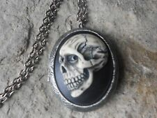 SKULL (HAND PAINTED) CAMEO ANTIQUED SILVER LOCKET, HALLOWEEN, GOTH, SKELETON