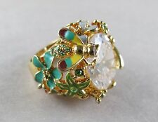 Costume Ring Enameled with Butterfly, Dragonfly & Large Rhinestone Size 6 [2039]