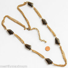 Chico's Signed Necklace Long Gold Tone Chains Faceted Smokey Amber Color Accents