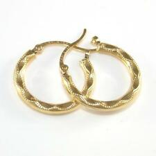Solid 14K Yellow Gold Diamond Cut Circle Hoop Earrings A2