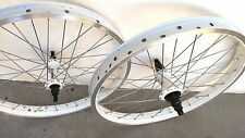"20"" x2.125 BMX Front & Rear Bike Wheels 14mm 9T Sealed Bearing Double wall White"