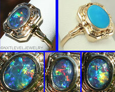 Antique Art Deco Opal & Persian Turquoise 10k Gold Cocktail Flip Reversible Ring