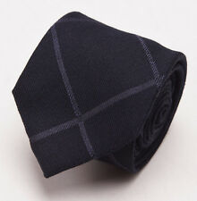 New $225 BATTISTI NAPOLI Slim Black Windowpane Check Wool-Silk Tie w/ Gift Box