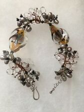 Fabulous Pearls and Crystal Beads Silver Hook Bracelet Elegant! 7""