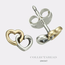 Authentic Pandora Silver & 14K Gold Heart to Heart Stud Earrings 290567