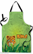 PERSONALISED JUNGLE LEOPARD CHILDRENS APRON BAKING PAINTING WATER ARTS & CRAFTS