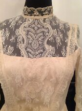 Vintage Antique French Lace Victorian Style Wedding Dress Fits Current Day 12