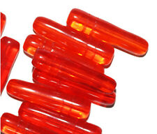 Transparent Orange Bottle Czech Pressed Glass Beads 28mm (pack of 10)
