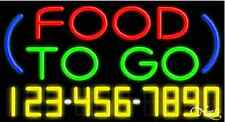 "NEW ""FOOD TO GO"" W/YOUR PHONE NUMBER 37x20 REAL NEON SIGN W/CUSTOM OPTIONS 15027"